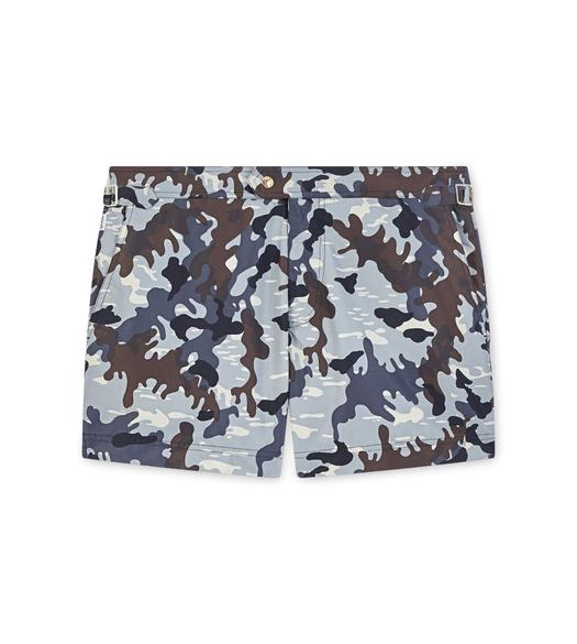 ABSTRACT CAMOUFLAGE SWIM SHORTS