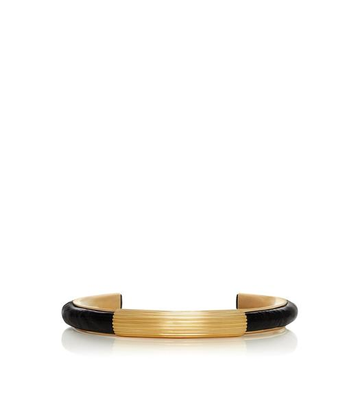 BLACK & GOLD CROCODILE BRACELET
