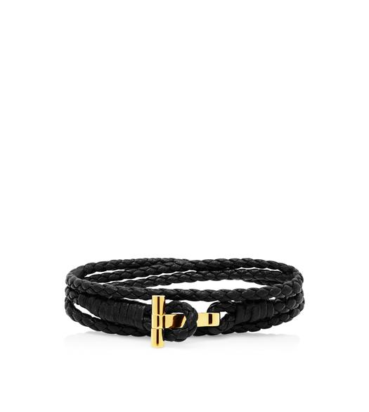 Gold Braided Wrap T Bracelet