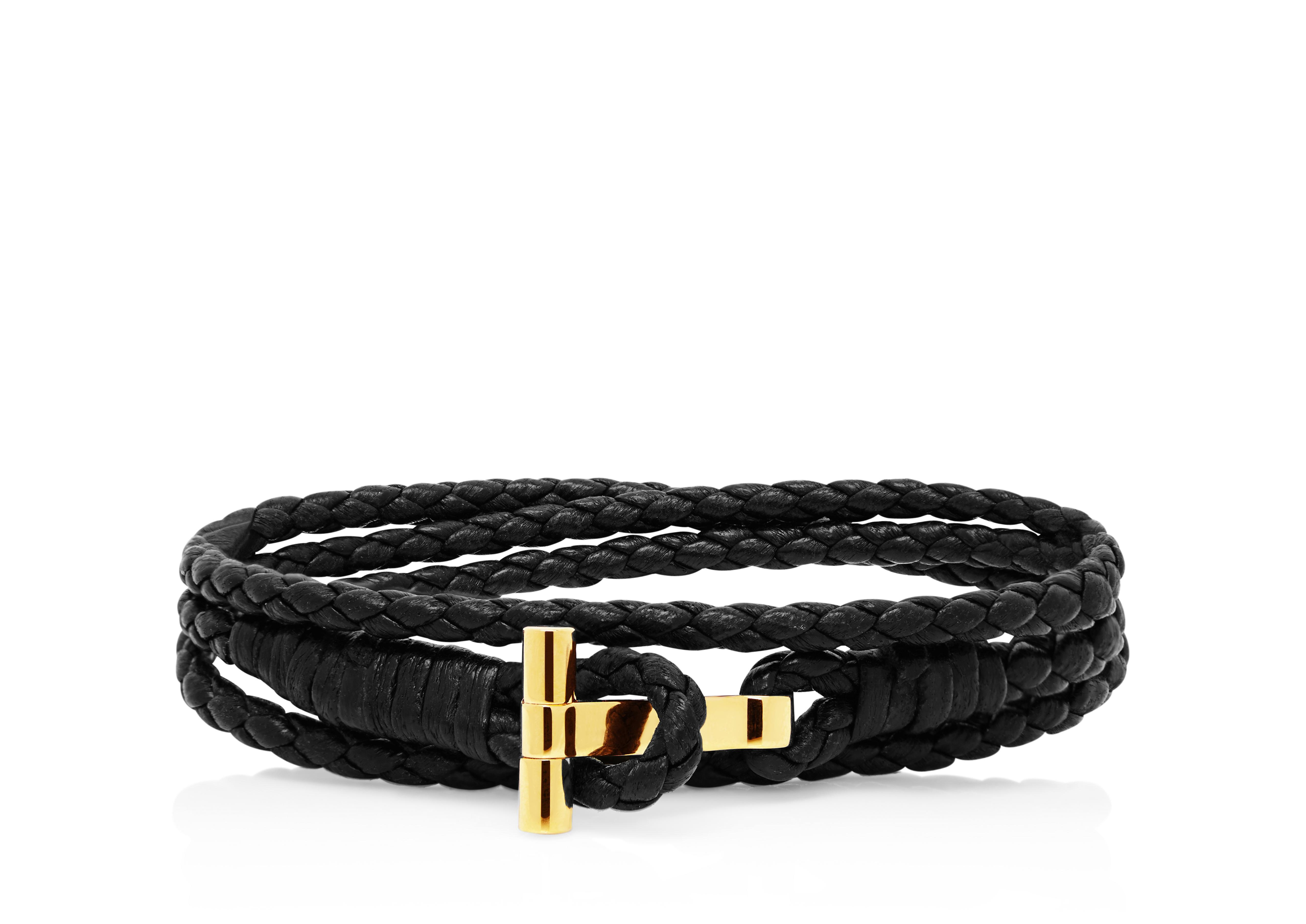 Gold Braided Wrap T Bracelet A thumbnail