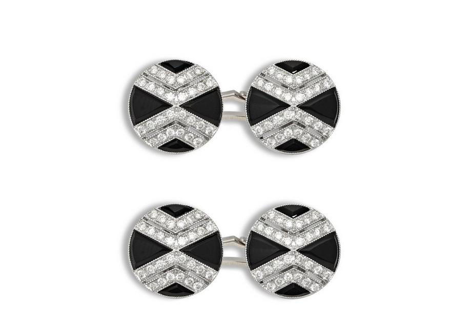 Onyx and Diamond Cross Cufflinks A fullsize