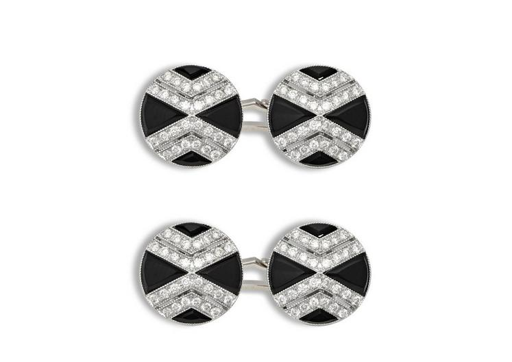 Onyx and Diamond Cross Cufflinks A fullsize