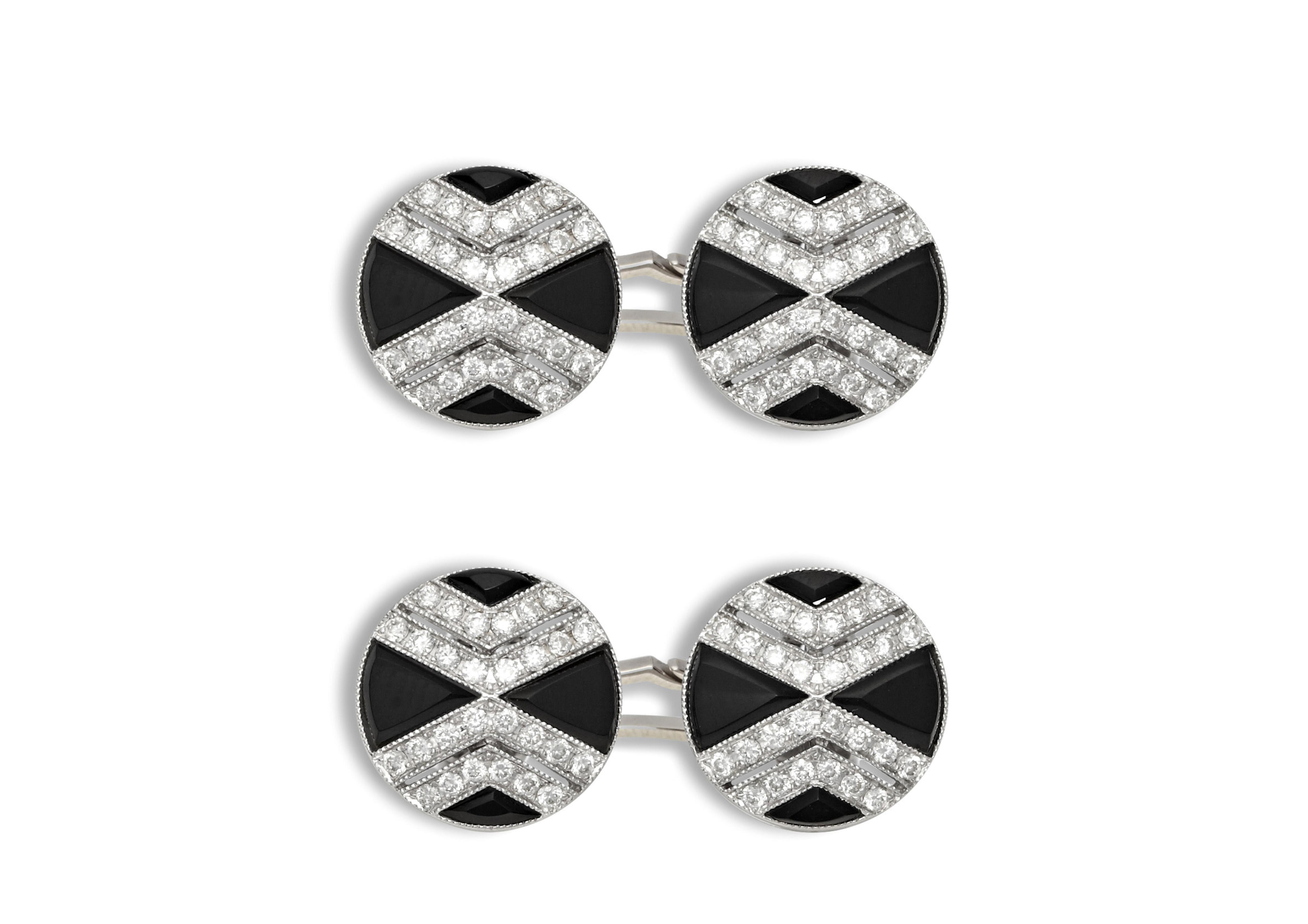 Onyx and Diamond Cross Cufflinks A thumbnail