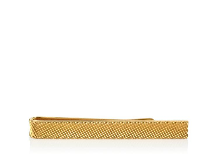 SHORT GOLD DIAGONAL STRIPED TIE BAR A fullsize