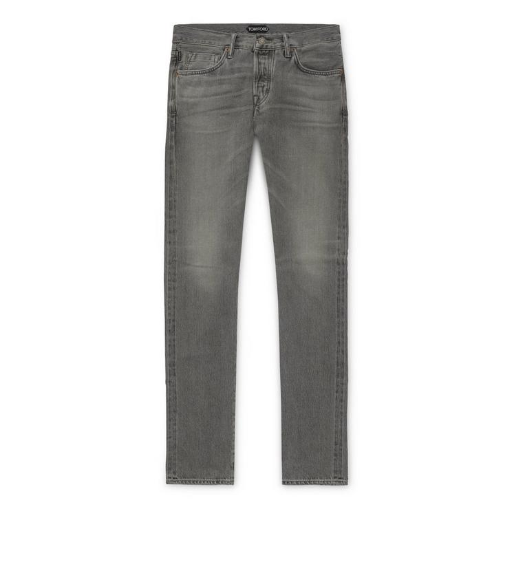 GREY WASHED SELVAGE DENIM SLIM A fullsize