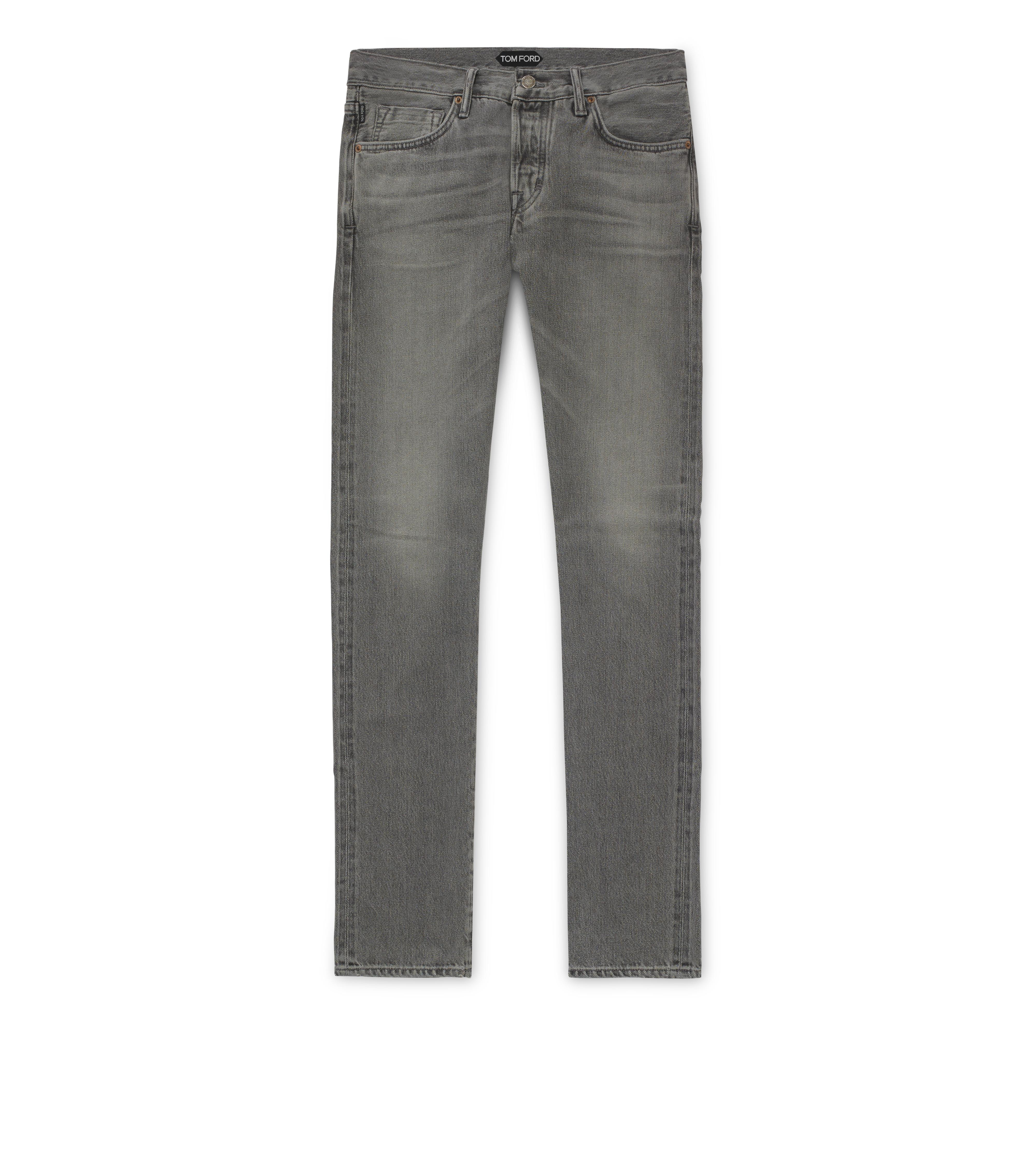 GREY WASHED SELVAGE DENIM SLIM A thumbnail
