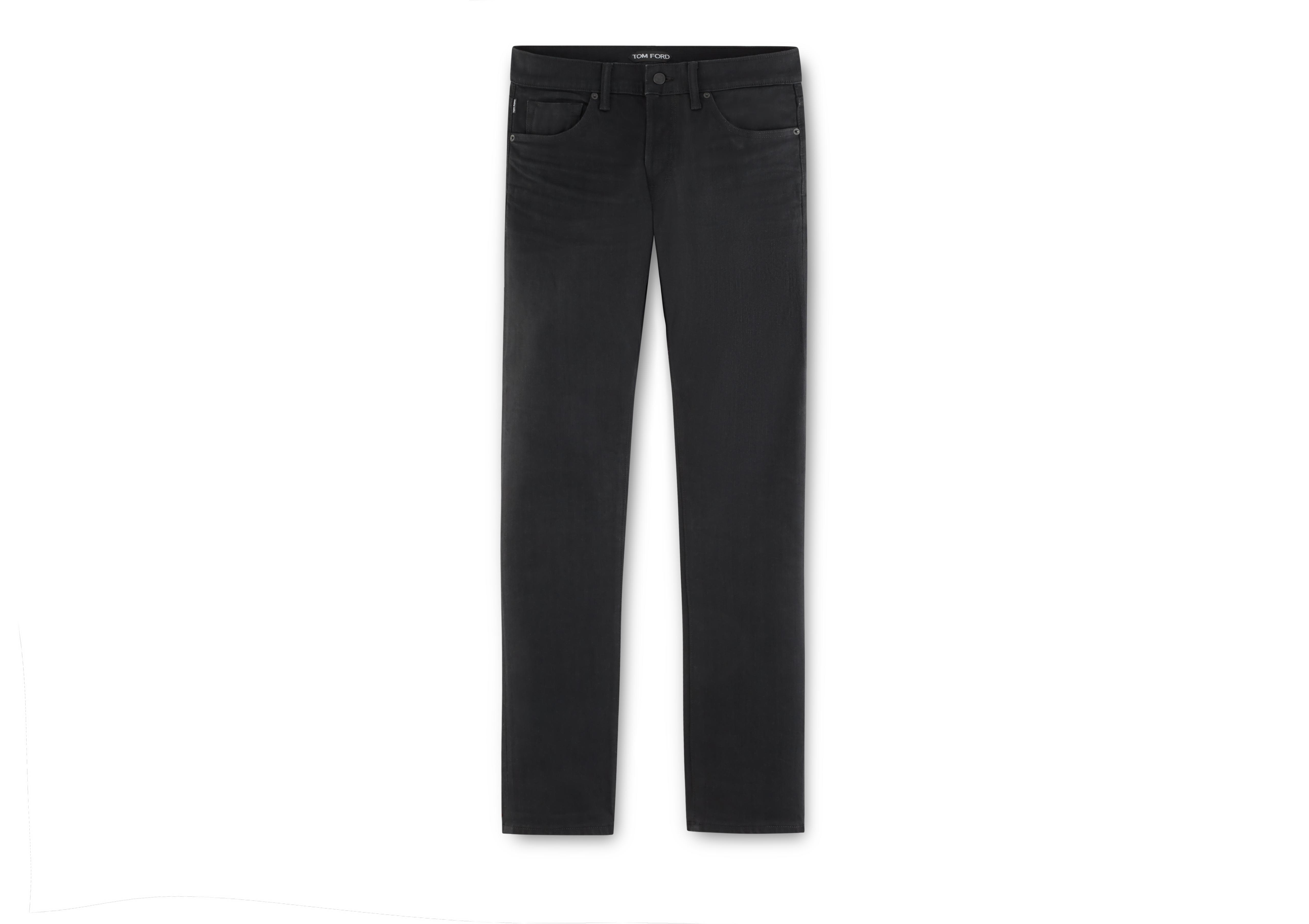 SLIM BLACK SELVAGE JEANS A thumbnail