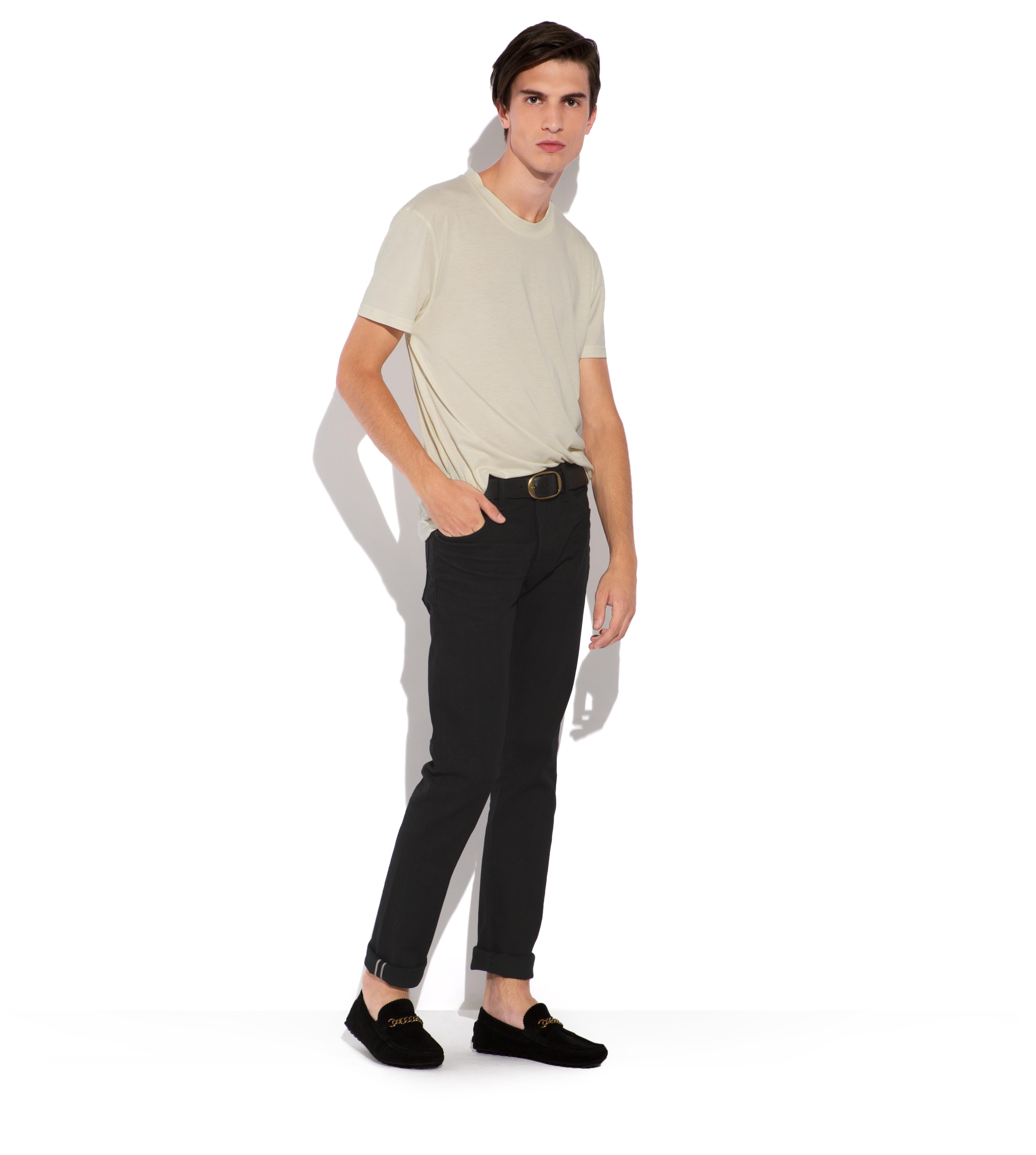 SLIM BLACK SELVAGE JEANS B thumbnail