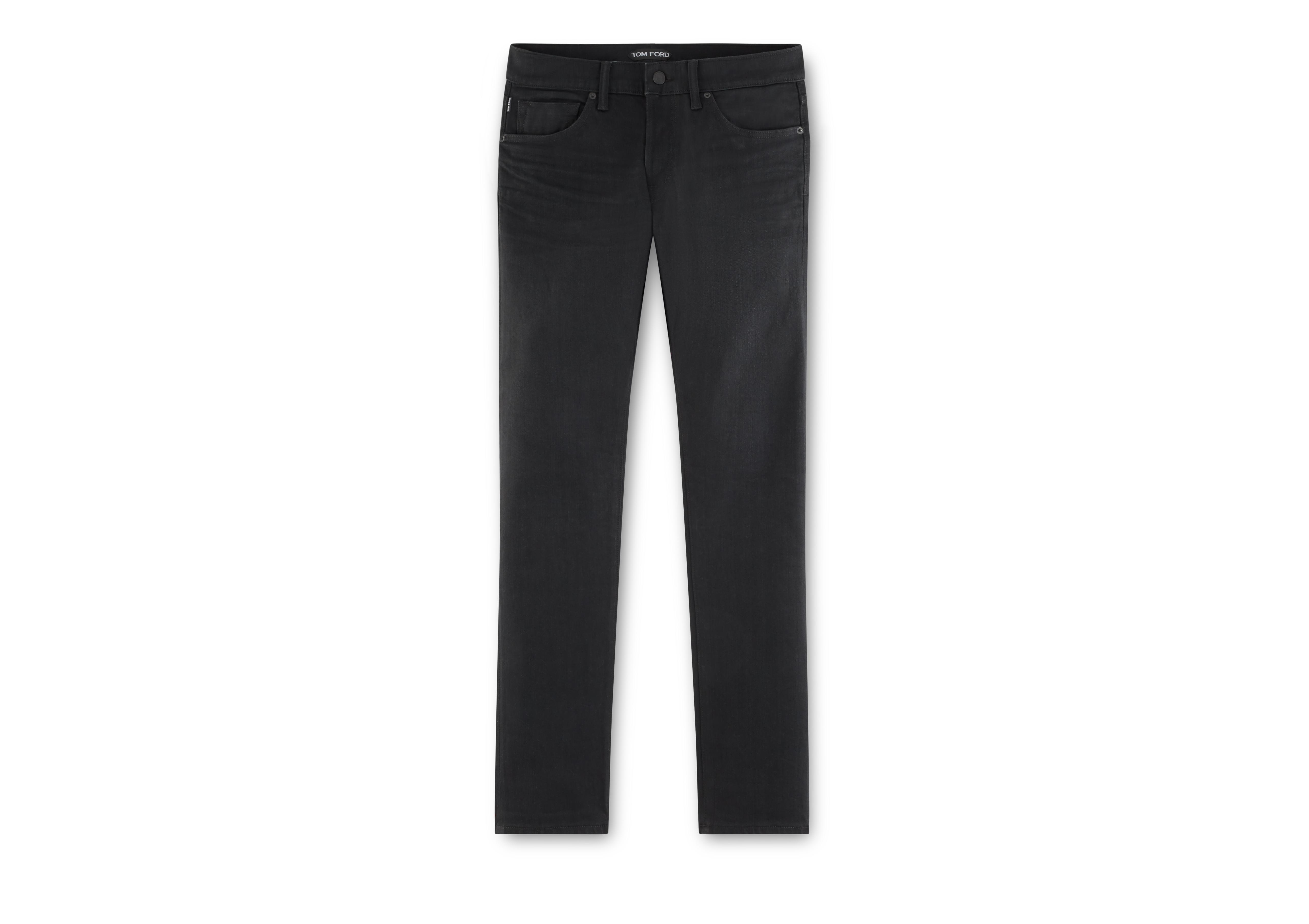 STRAIGHT BLACK SELVAGE JEANS A thumbnail
