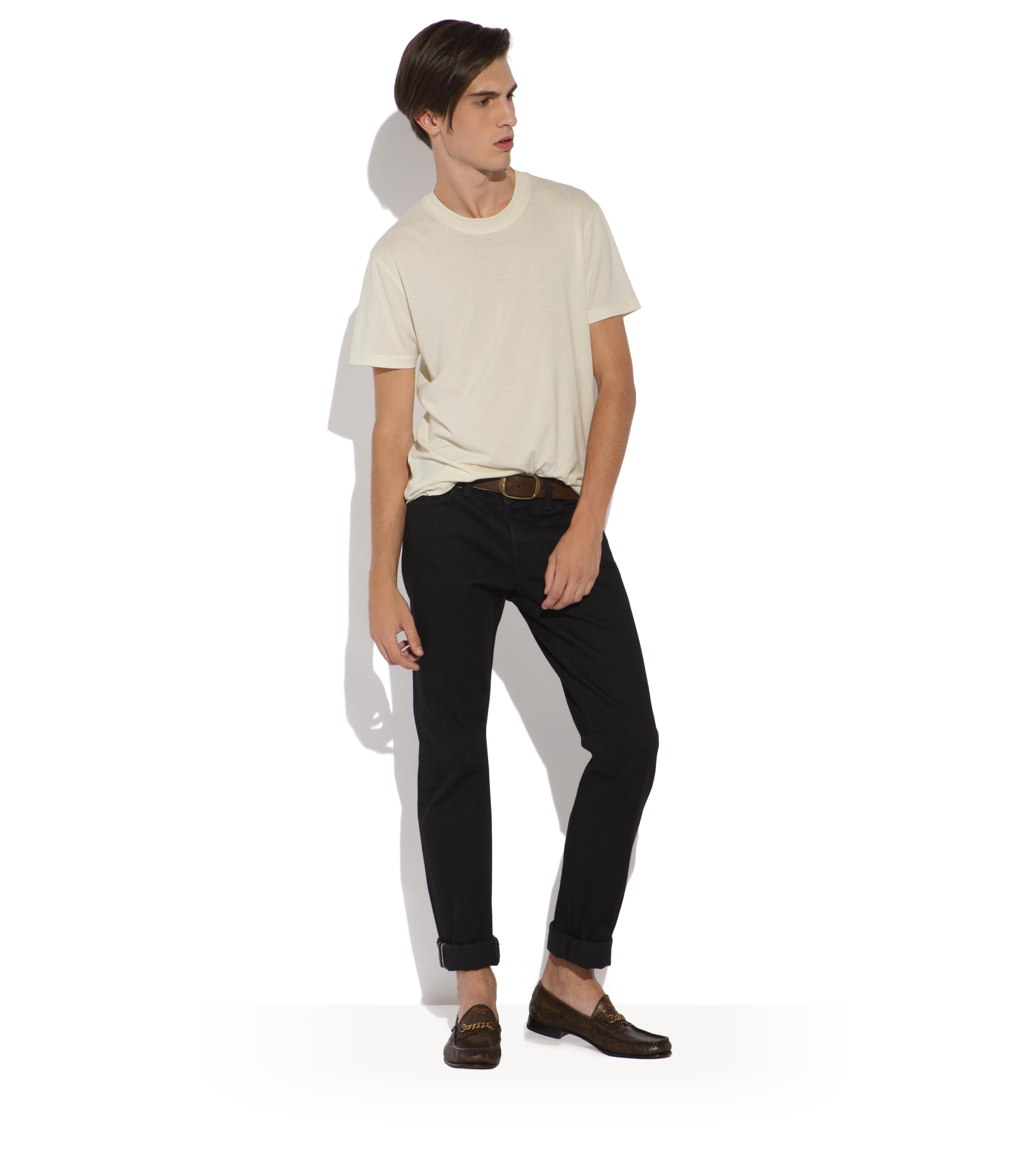 STRAIGHT BLACK SELVAGE JEANS B thumbnail
