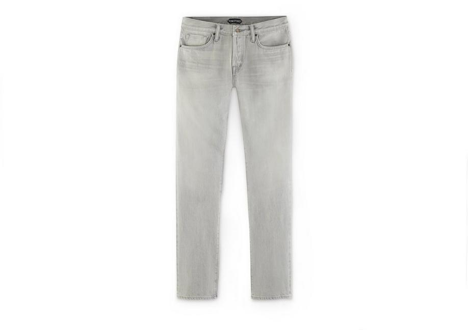 STRAIGHT PALE GREY SELVAGE JEANS A fullsize