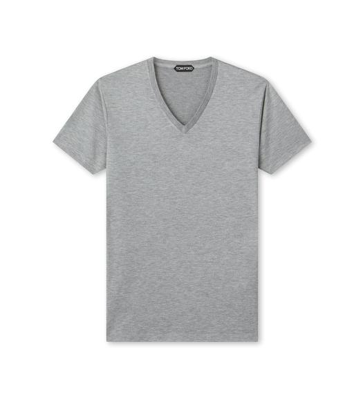 VISCOSE BLEND JERSEY V NECK T-SHIRT