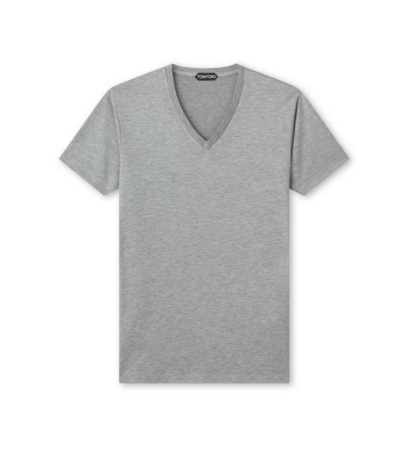 VISCOSE BLEND JERSEY V NECK T-SHIRT A fullsize