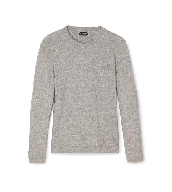COTTON CASHMERE LIGHTWEIGHT MARL JERSEY LONG-SLEEVED T-SHIRT A fullsize
