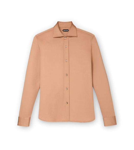 CAMEL JERSEY TAILORED LONG SLEEVE SHIRT