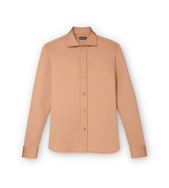 CAMEL JERSEY TAILORED LONG SLEEVE SHIRT A fullsize