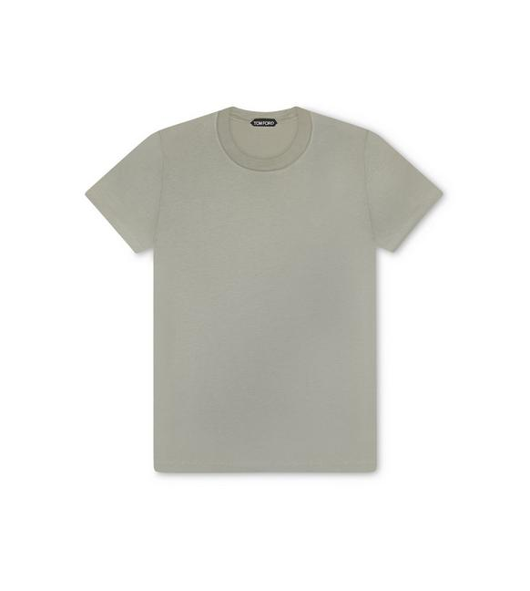 VISCOSE COTTON JERSEY CREWNECK T-SHIRT A fullsize