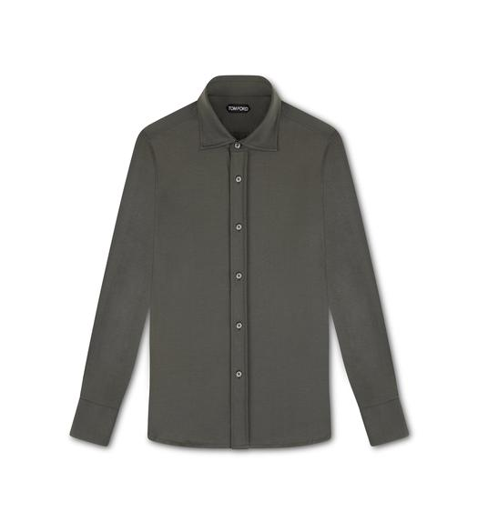 COTTON JERSEY TAILORED SHIRT