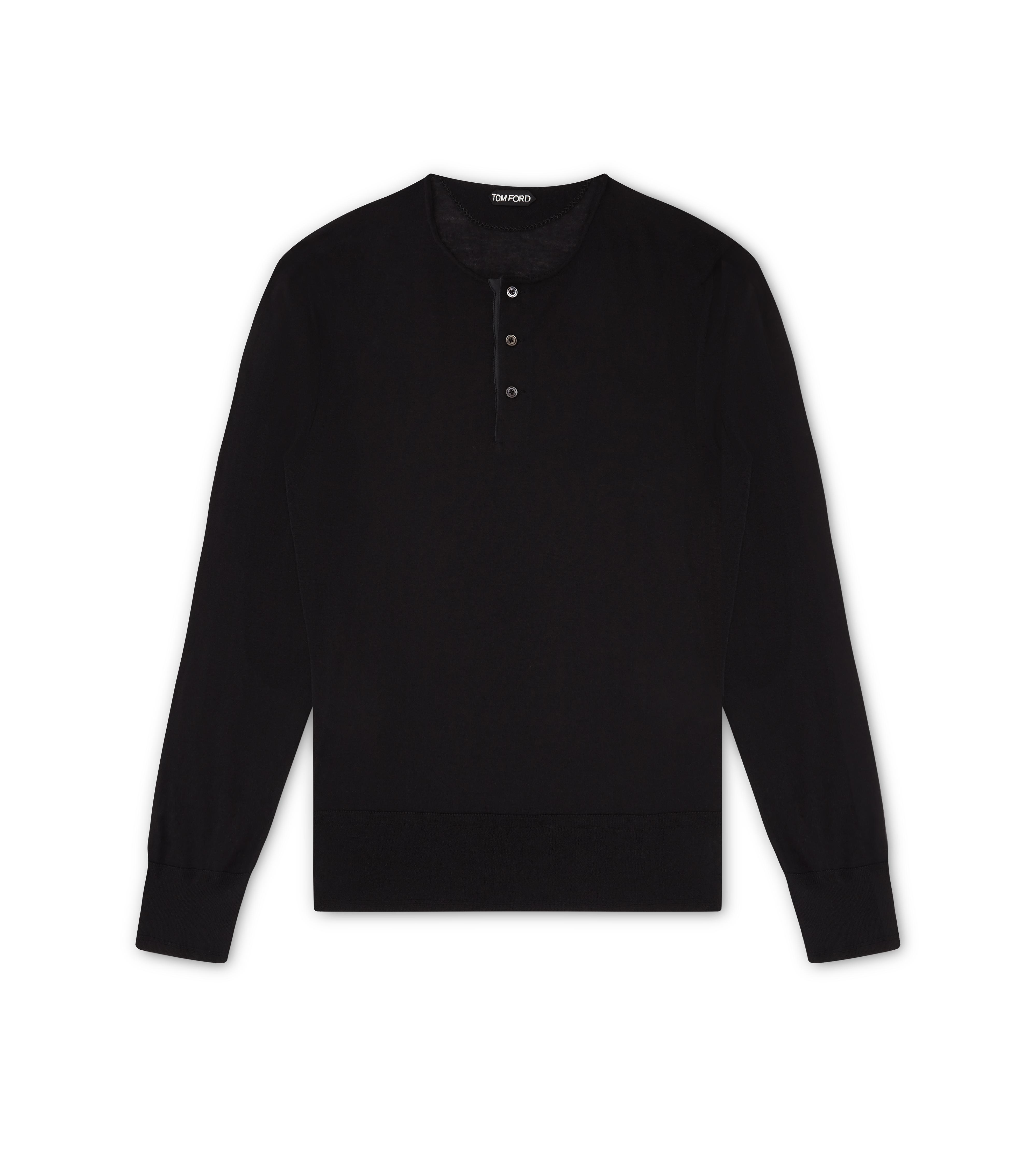 SUPERFINE CASHMERE LONG-SLEEVED HENLEY A thumbnail