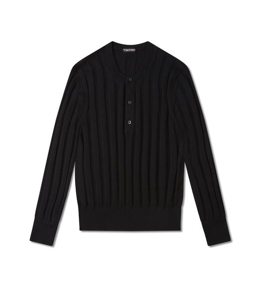 CASHMERE SILK RIBBED HENLEY