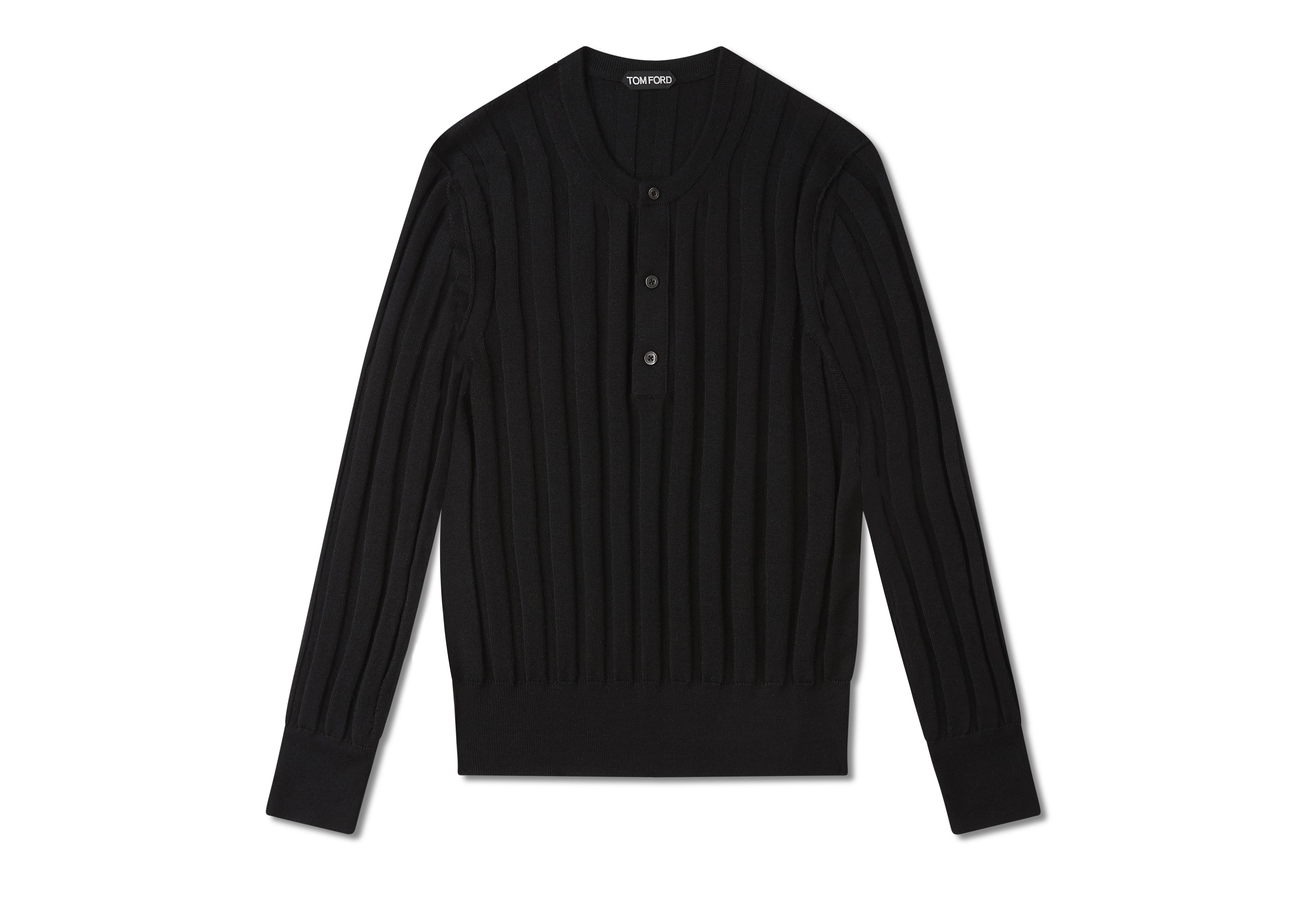 CASHMERE SILK RIBBED HENLEY A thumbnail