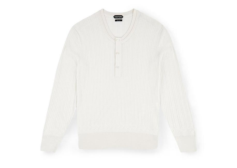 CASHMERE SILK RIBBED HENLEY A fullsize