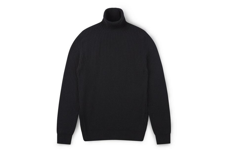CASHMERE BLEND RIBBED TURTLENECK A fullsize