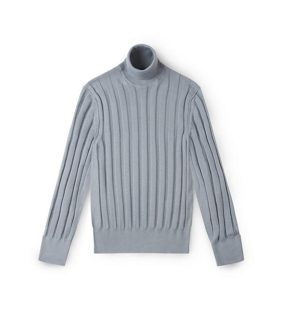 CASHMERE SILK RIBBED TURTLENECK A fullsize