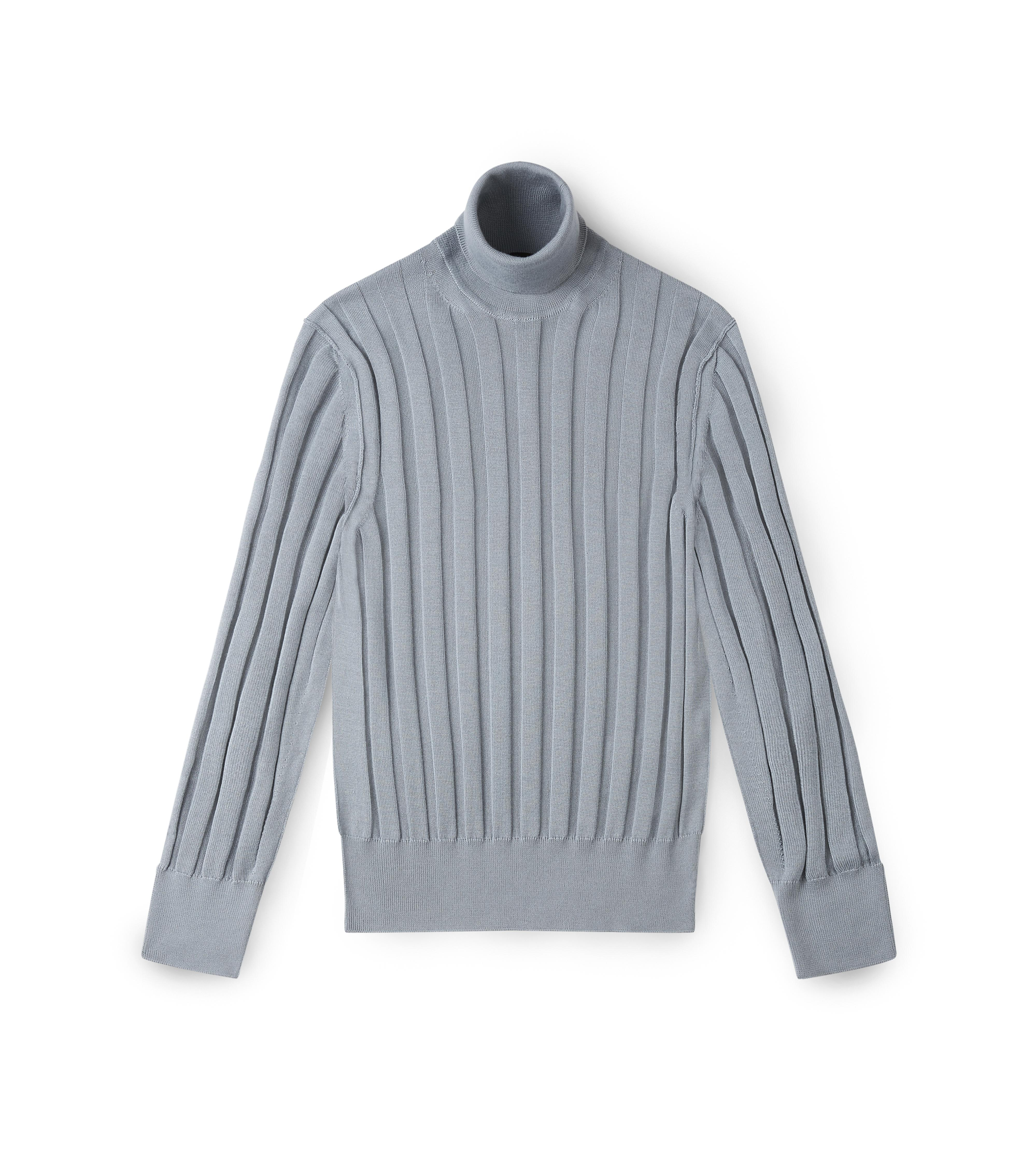 CASHMERE SILK RIBBED TURTLENECK A thumbnail