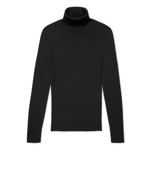 SILK RIBBED TURTLENECK