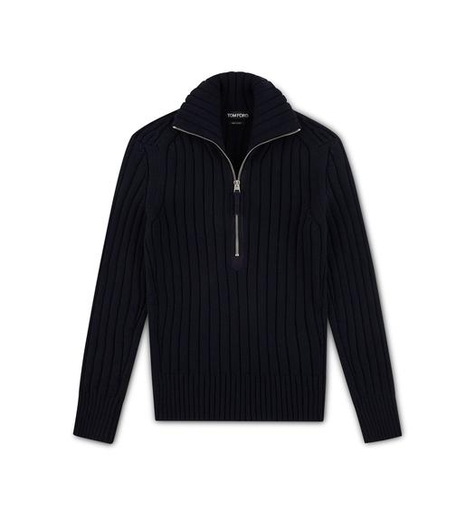 MERINO RIBBED HALF ZIP