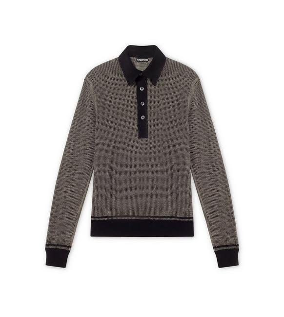 TEXTURED JACQUARD LONG-SLEEVED POLO A fullsize
