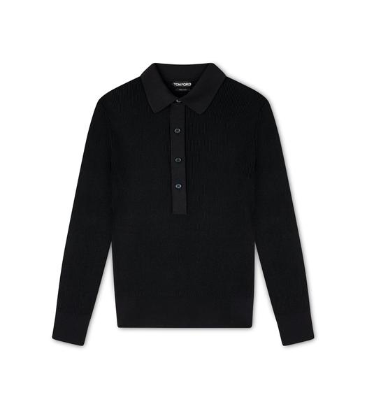 SILK RIB POLO SHIRT