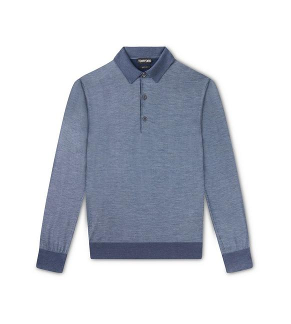 PURE SILK LONG SLEEVE POLO KNIT A fullsize