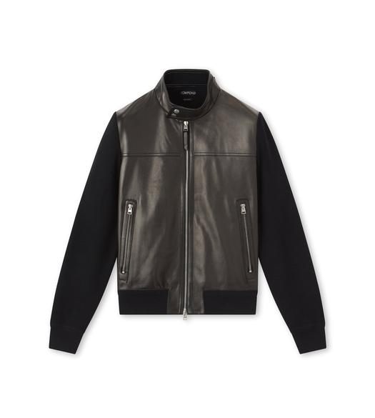 LEATHER FRONT MERINO KNIT HARRINGTON