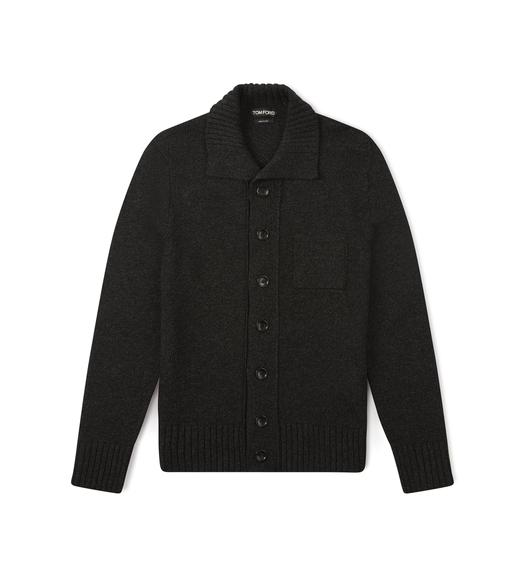 FUNNEL NECK CASHMERE CARDIGAN
