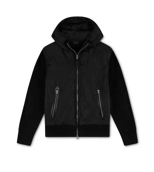MERINO AND NYLON HOODED ZIP JACKET