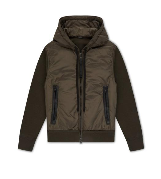NYLON FRONT MERINO HOODED BLOUSON