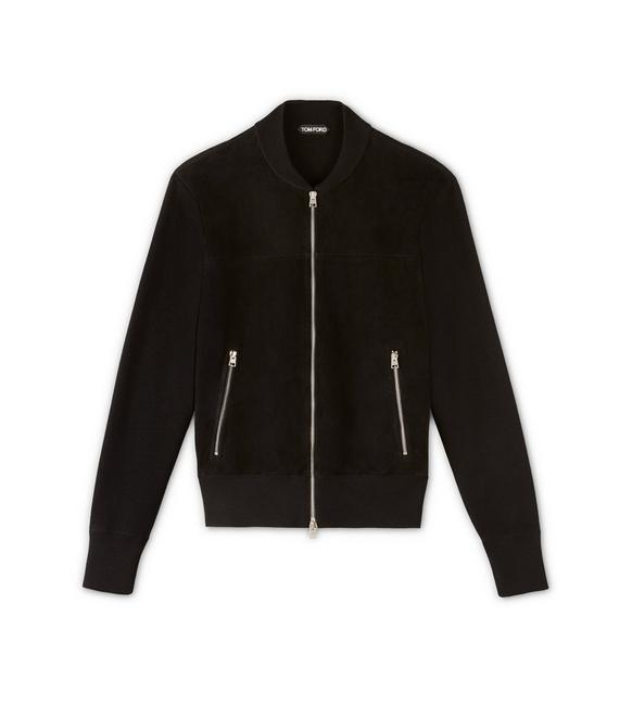 FULL ZIP BOMBER JACKET WITH SUEDE FRONT A fullsize