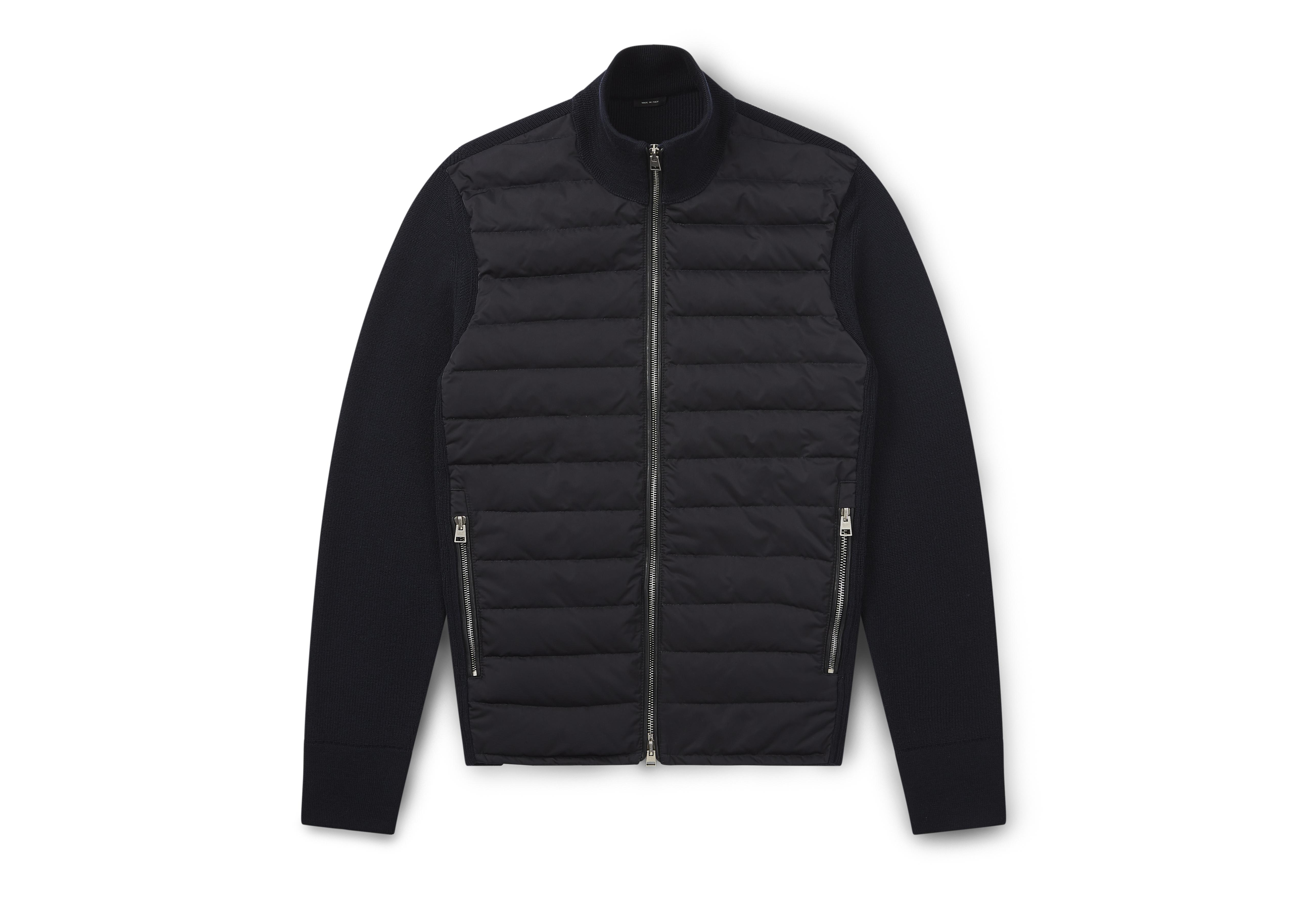 MERINO JACKET WITH QUILTED DOWN PANELS A thumbnail
