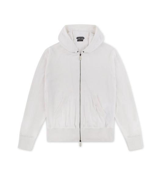 WHITE CASHMERE BLEND ZIP-UP HOODIE