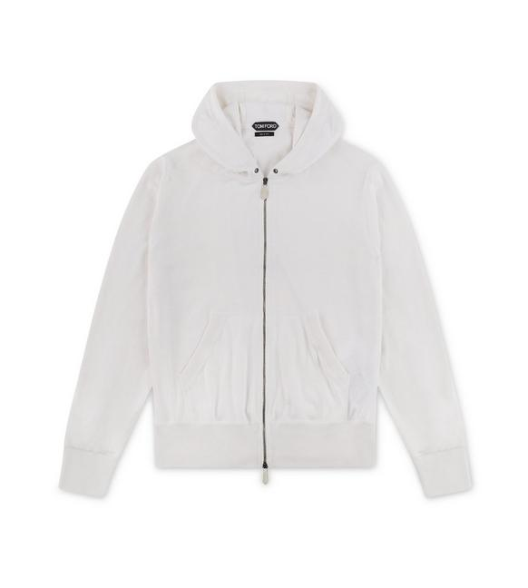 WHITE CASHMERE BLEND ZIP-UP HOODIE A fullsize