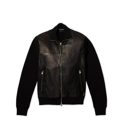 LEATHER FRONT MERINO ZIP THROUGH KNIT
