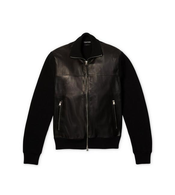 LEATHER FRONT MERINO ZIP THROUGH KNIT A fullsize