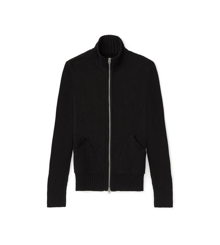 PURE MERINO FUNNEL COLLAR ZIP THROUGH WITH SUEDE DETAILS A fullsize