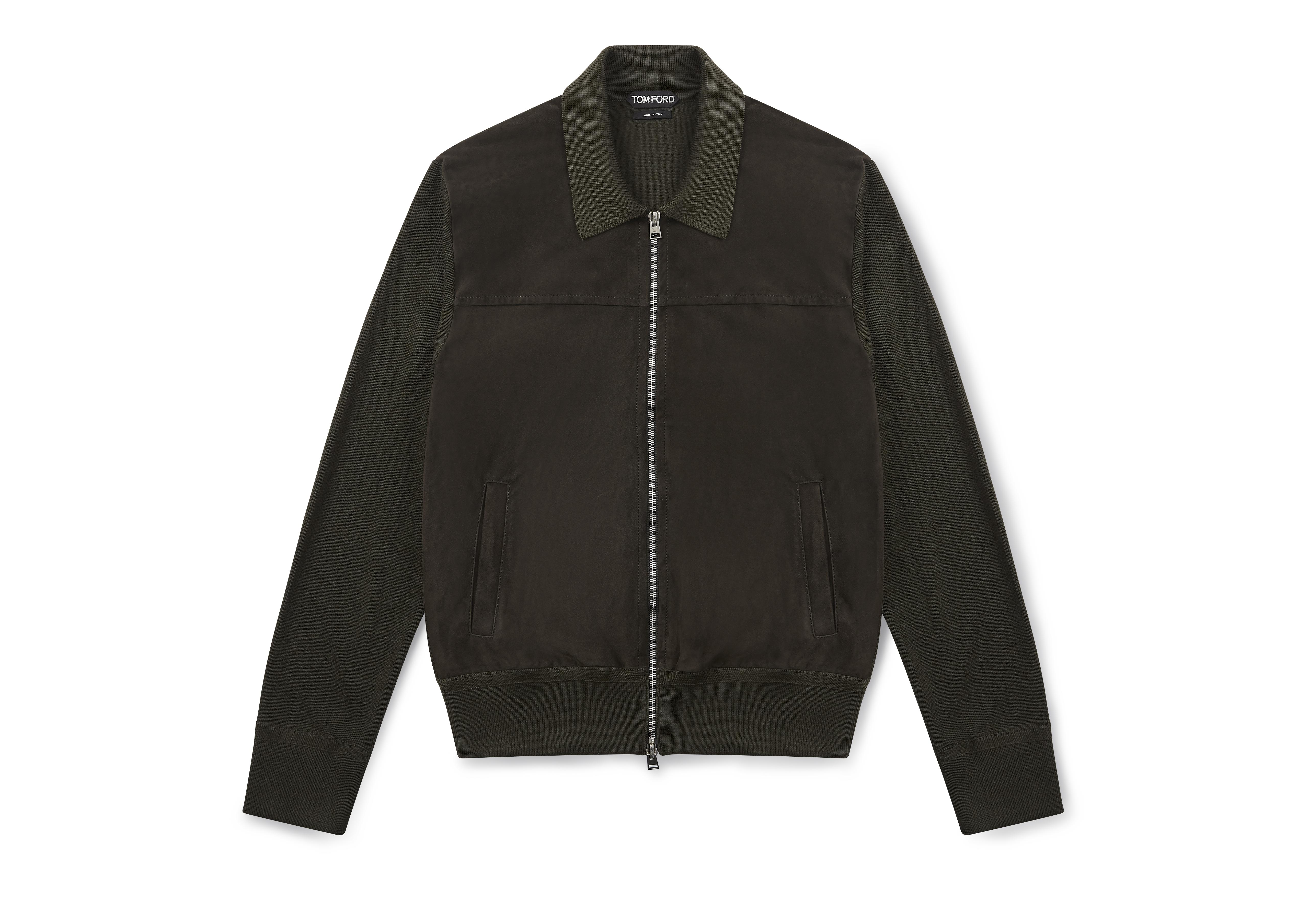 SUEDE FRONT KNIT POLO JACKET A thumbnail