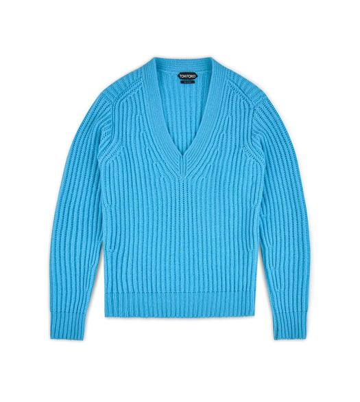 FISHERMAN'S RIBBED V-NECK SWEATER