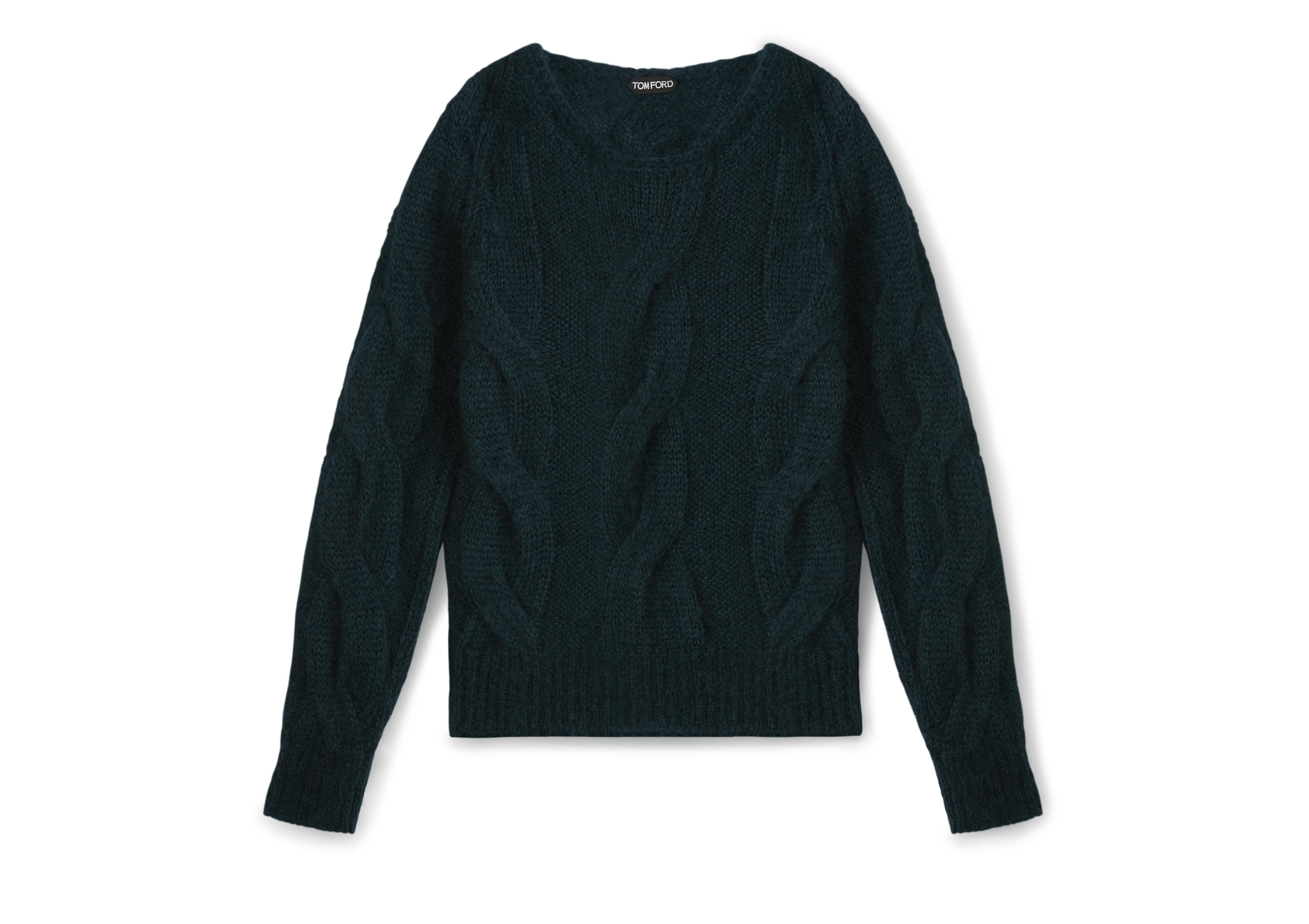 MOHAIR CABLE KNIT PULLOVER A thumbnail