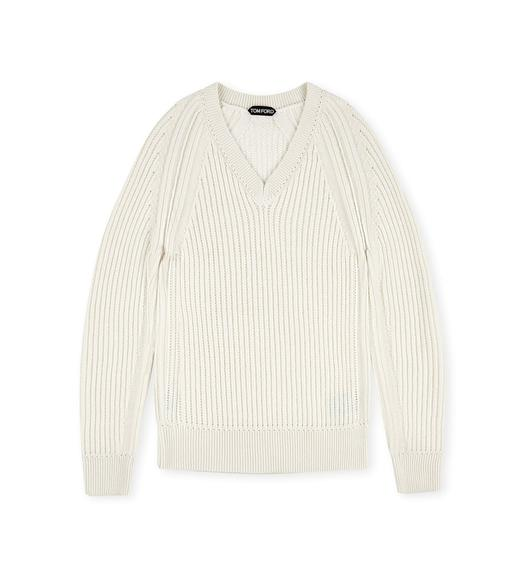 RIBBED MESH V-NECK SWEATER