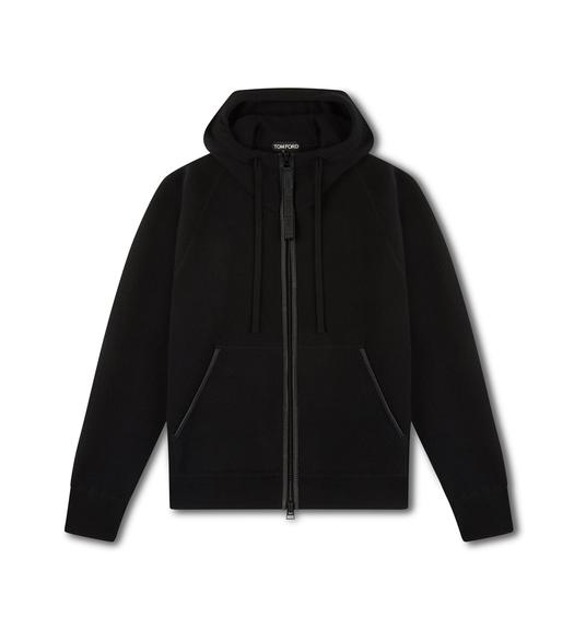 CASHMERE HOOD ZIP THROUGH KNIT